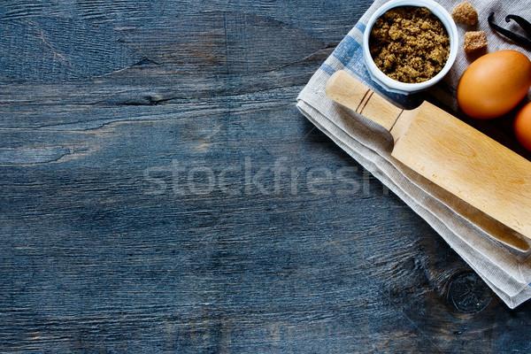 Ingredientes têxtil guardanapo escuro Foto stock © YuliyaGontar