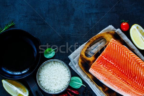 świeże łososia filet zdrowia ryżu Zdjęcia stock © YuliyaGontar