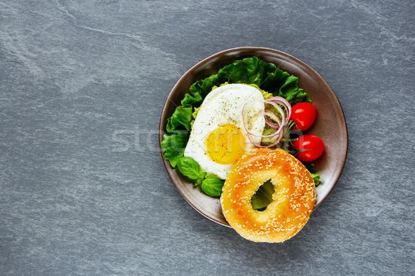 Сток-фото: Бублики · яйцо · овощей · здорового · вегетарианский · завтрак