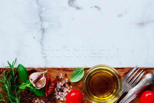 Olio d'oliva ingredienti alimentare fresche bianco marmo Foto d'archivio © YuliyaGontar
