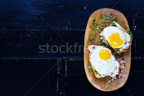 Toast eieren top ontbijt Stockfoto © YuliyaGontar