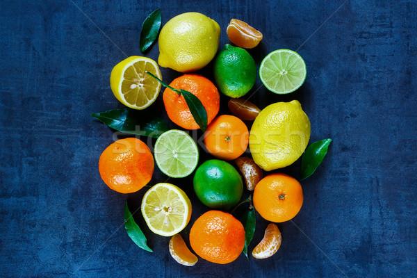 Citrus gyümölcsök levelek sötét klasszikus mezőgazdaság Stock fotó © YuliyaGontar