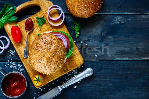 Stock fotó: Vegan · hamburger · zöldségek · finom · friss · zöldségek · sötét