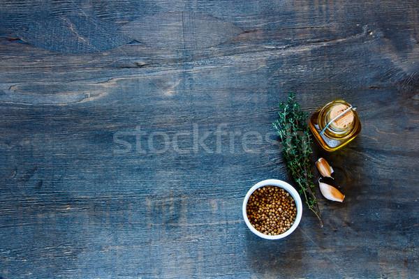 Aceite de oliva hierbas especias cocina vintage Foto stock © YuliyaGontar