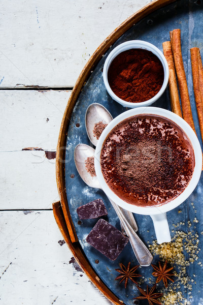 Cioccolata calda spezie bianco mug cannella anice Foto d'archivio © YuliyaGontar