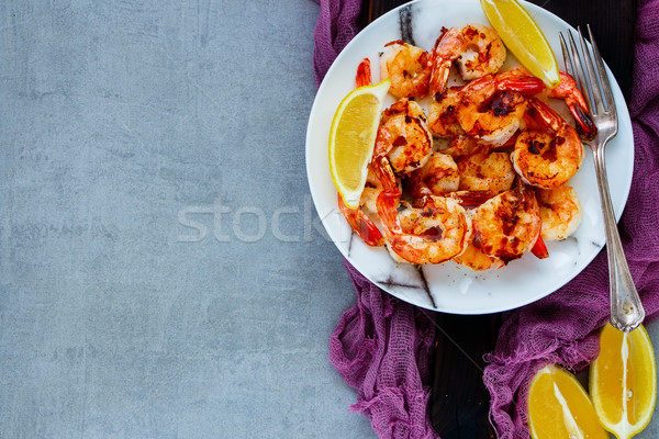 Seafood dinner on table Stock photo © YuliyaGontar