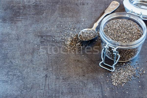 Chia seeds in glass jar Stock photo © YuliyaGontar
