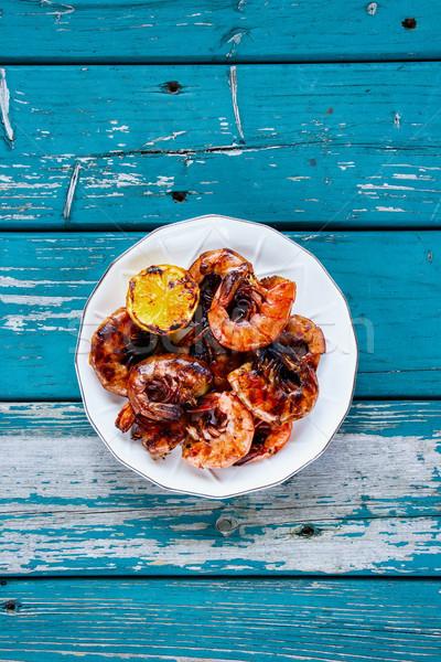 Smakelijk gegrild plaat citroen turkoois Stockfoto © YuliyaGontar