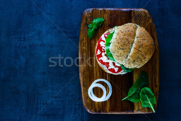 Vegetarian sandwich with feta cheese Stock photo © YuliyaGontar