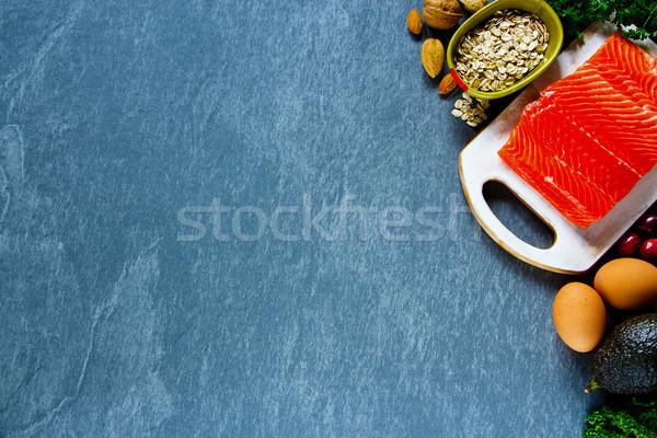 Organik gıda taze malzemeler somon yumurta Stok fotoğraf © YuliyaGontar