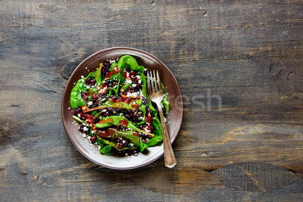 Lettuce, beans, feta salad Stock photo © YuliyaGontar