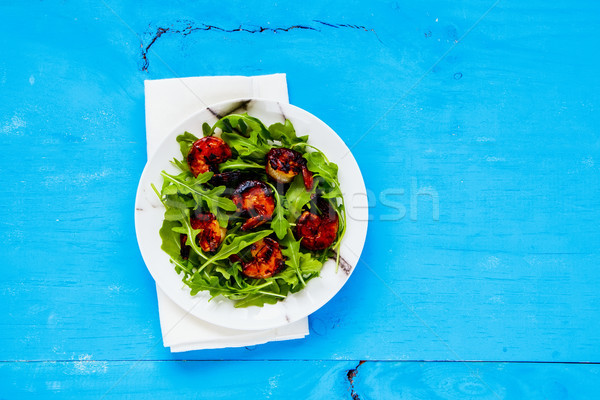 Stock photo: Arugula salad with shrimp