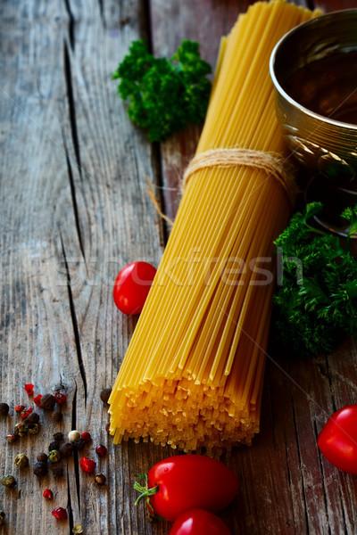 スパゲティ トマト ハーブ 素朴な ヴィンテージ 木製 ストックフォト © YuliyaGontar