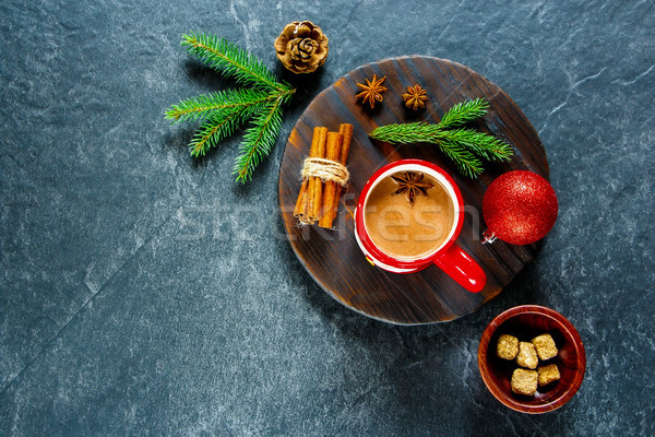 Winter warme chocolademelk christmas nieuwjaar specerijen decoraties Stockfoto © YuliyaGontar