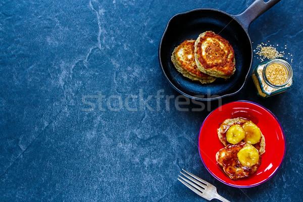 Pancakes with caramelized bananas  Stock photo © YuliyaGontar