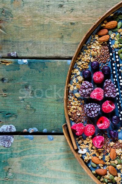 Stock fotó: Egészséges · hozzávalók · smoothie · granola · diók · fagyott