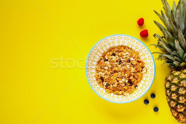 Muesli ananás fresco saudável café da manhã Foto stock © YuliyaGontar