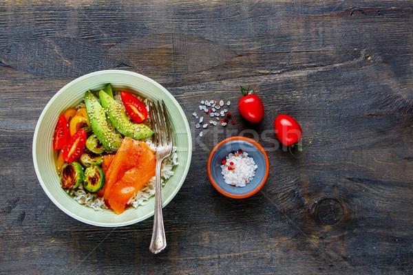 Buda güç çanak lezzetli yemek masası avokado Stok fotoğraf © YuliyaGontar