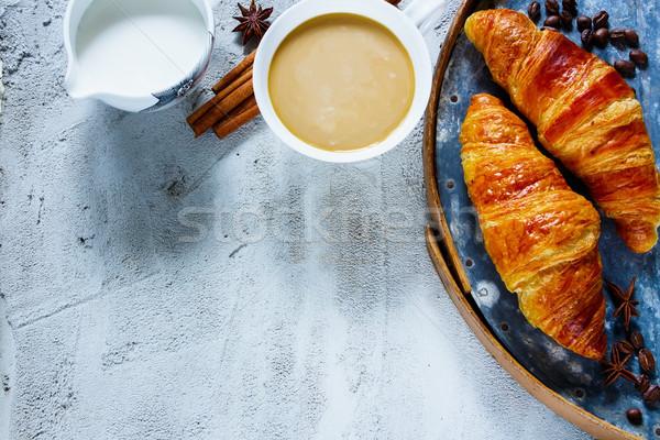 Filiżankę kawy górę widoku śniadanie tabeli kawy Zdjęcia stock © YuliyaGontar