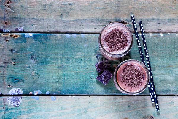 ストックフォト: チョコレート · バナナ · スムージー · ガラス · グランジ · 木製