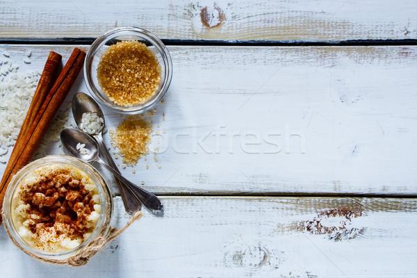 Kavanoz sütlaç geleneksel pişirme mason malzemeler Stok fotoğraf © YuliyaGontar