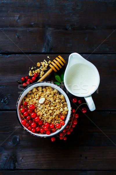Stock fotó: Egészséges · reggeli · hozzávalók · finom · házi · készítésű · granola