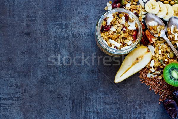 Egészséges reggeli bögre felső kilátás színes Stock fotó © YuliyaGontar