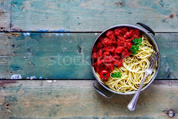 Spaghetti salsa di pomodoro pasta legno vintage Foto d'archivio © YuliyaGontar