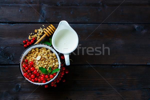 Stock fotó: Egészséges · reggeli · hozzávalók · felső · kilátás · házi · készítésű