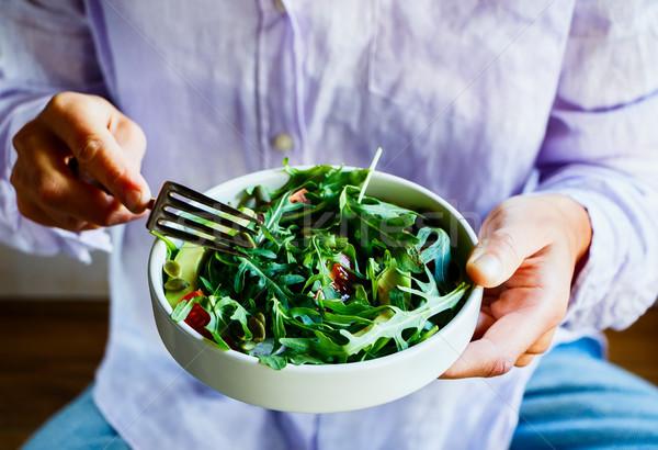 Primavera vegetal salada alimentação verde abacate Foto stock © YuliyaGontar