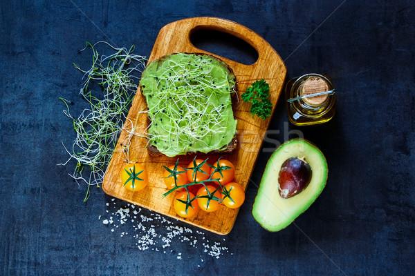 Friss vegetáriánus szendvics egész gabona kenyér Stock fotó © YuliyaGontar