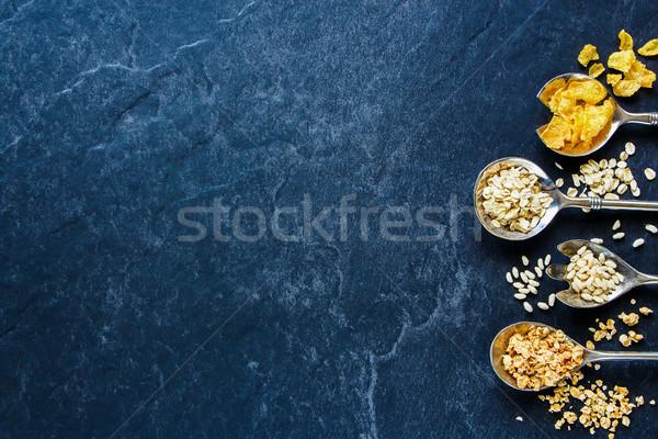 Stockfoto: Granen · lepels · gezonde · ontbijt · textuur