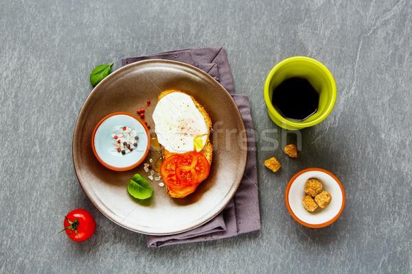 Bruschetta tojás finom vegetáriánus reggeli szürke Stock fotó © YuliyaGontar