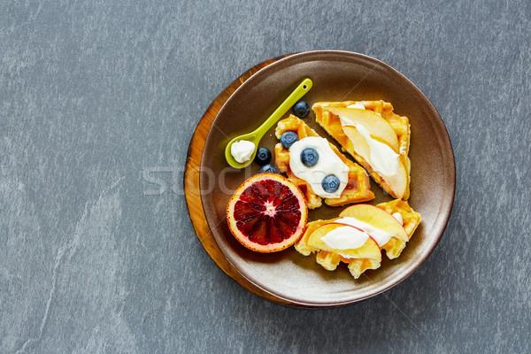 Waffles and fruits Stock photo © YuliyaGontar