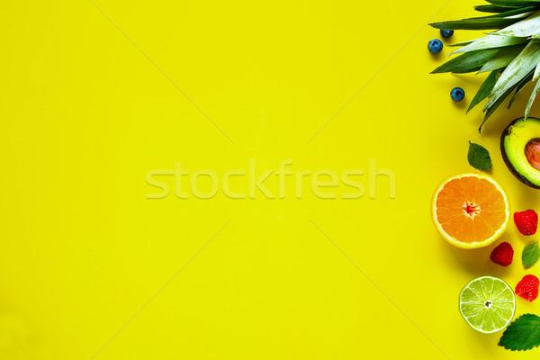 Stockfoto: Tropische · vruchten · creatieve · lay-out · ananas