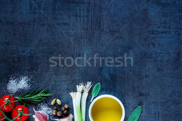 Photo stock: Fraîches · organique · légumes · huile · d'olive · cuisson · ingrédients