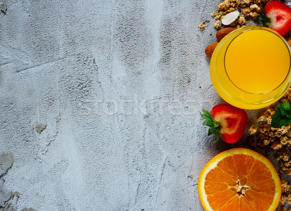 Hozzávalók egészséges reggeli közelkép étel müzli Stock fotó © YuliyaGontar
