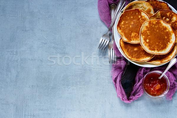 Whole grain pancakes Stock photo © YuliyaGontar