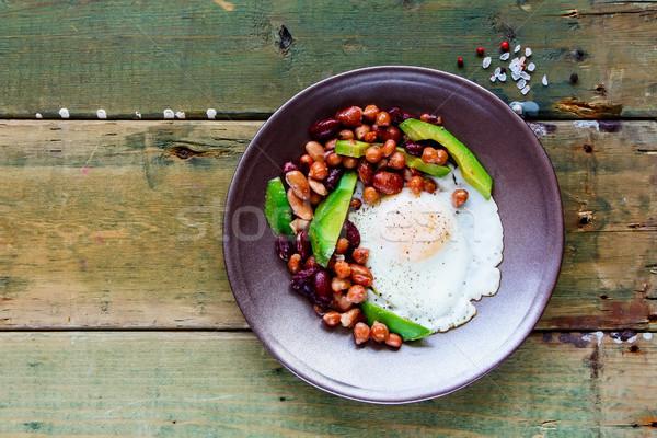 English Breakfast in plate Stock photo © YuliyaGontar
