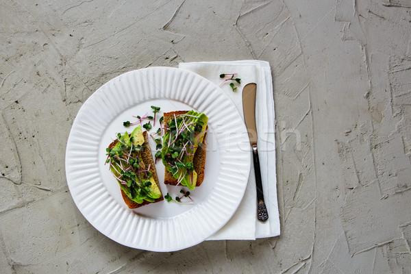 Foto stock: Aguacate · placa · delicioso · vegetariano · desayuno · almuerzo