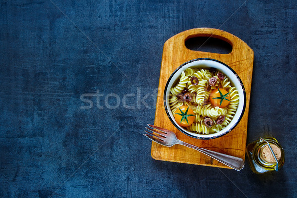パスタ サラダ トマト おいしい 光 新鮮な ストックフォト © YuliyaGontar