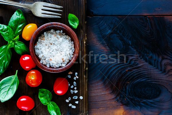 Cutting board and ingredients Stock photo © YuliyaGontar