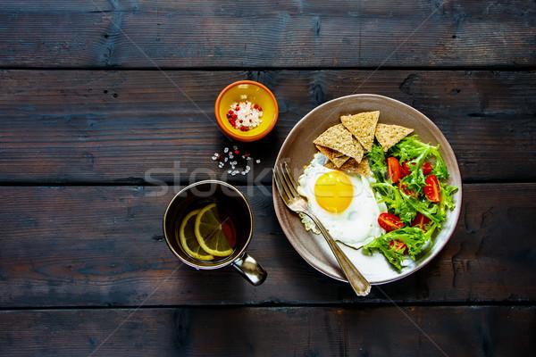 Breakfast plate with egg Stock photo © YuliyaGontar