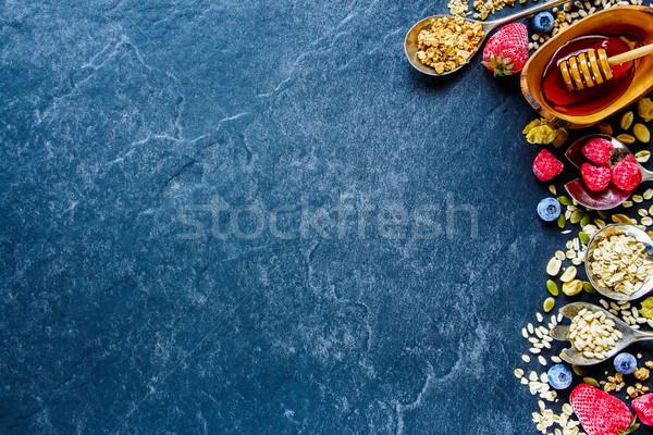 Stok fotoğraf: Kahvaltı · tablo · dondurulmuş · karpuzu · tohumları · bal