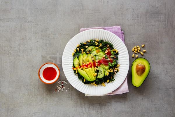 Stok fotoğraf: Yeşil · vegan · salata · avokado · salatalık · çam