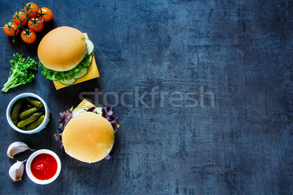 Cheese sandwich with vegetables Stock photo © YuliyaGontar