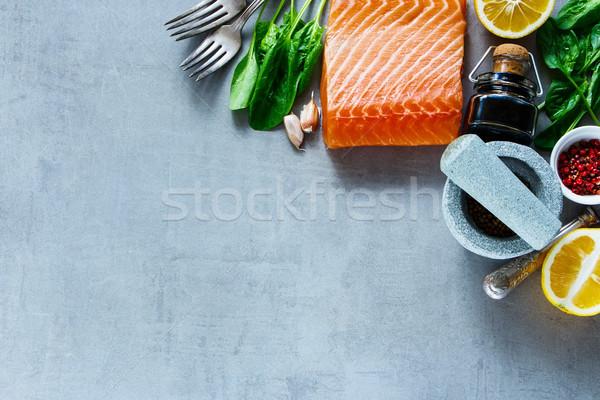 鮭 フィレット 新鮮な 材料 先頭 表示 ストックフォト © YuliyaGontar