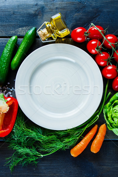 Organic vegetables and seasoning Stock photo © YuliyaGontar