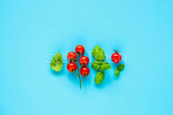 Stock photo: Tomatoes and basil
