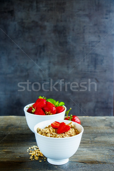 Müsli bessen granen gezonde ontbijt Stockfoto © YuliyaGontar